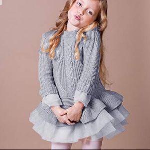 Other - Beautiful silver grey cable knit tulle dress tunic
